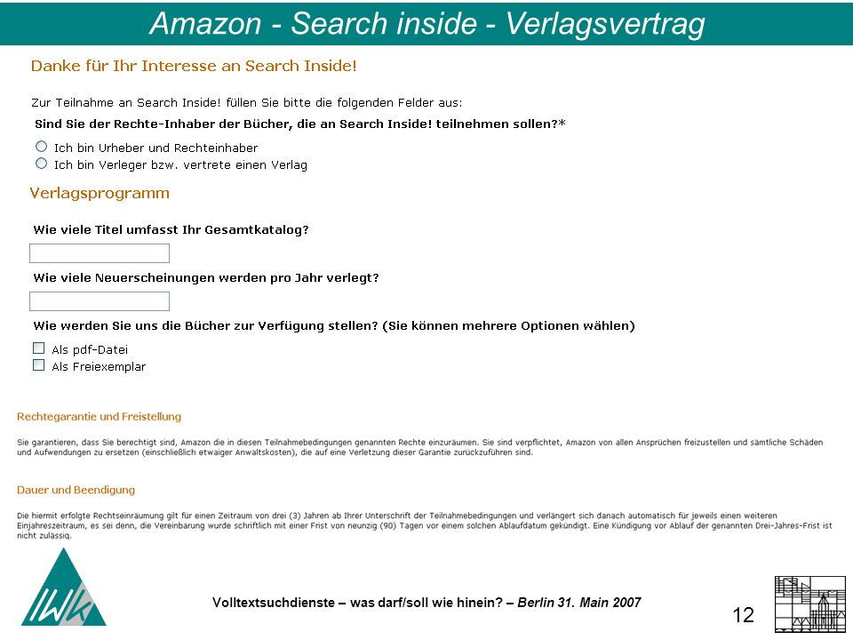 Volltextsuchdienste – was darf/soll wie hinein? – Berlin 31. Main 2007 12 Amazon - Search inside - Verlagsvertrag