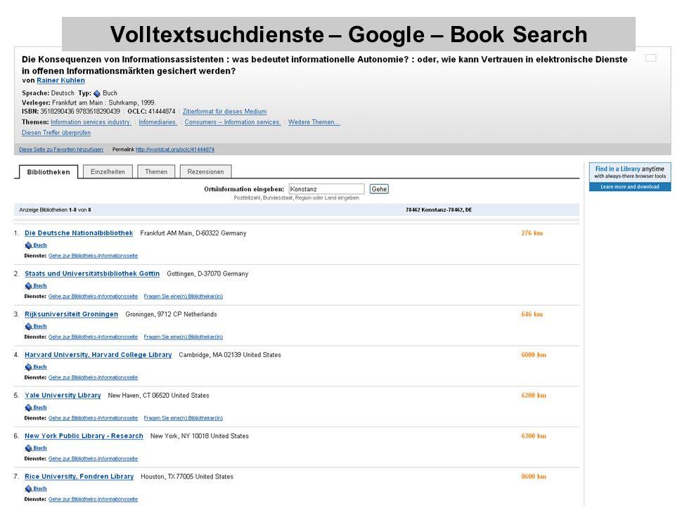 Volltextsuchdienste – was darf/soll wie hinein? – Berlin 31. Main 2007 29 Volltextsuchdienste – Google – Book Search