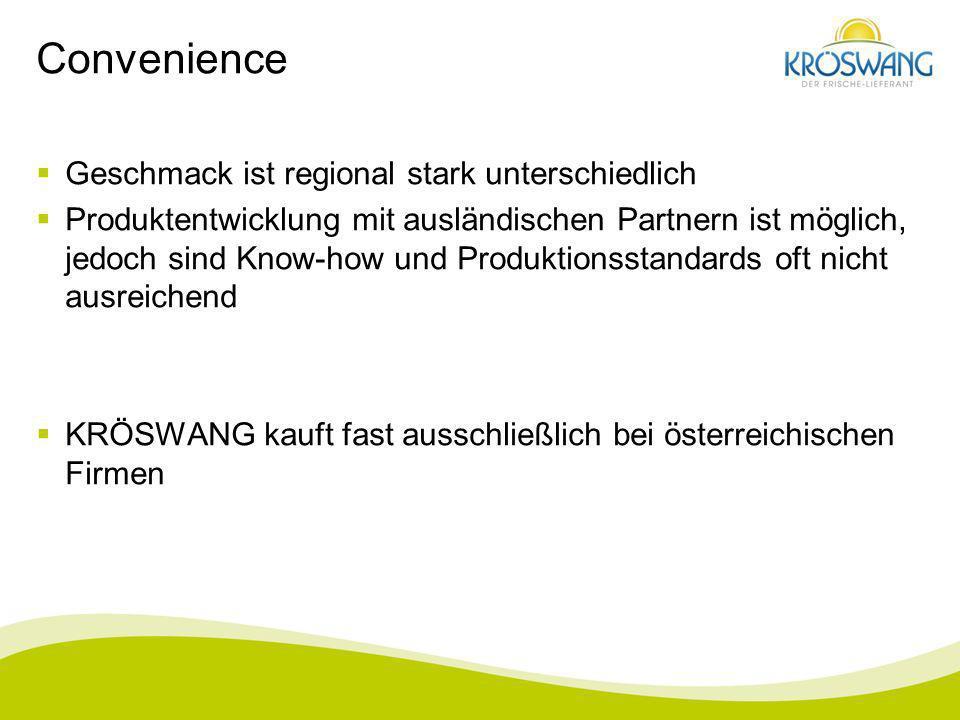 Convenience Geschmack ist regional stark unterschiedlich Produktentwicklung mit ausländischen Partnern ist möglich, jedoch sind Know-how und Produktio