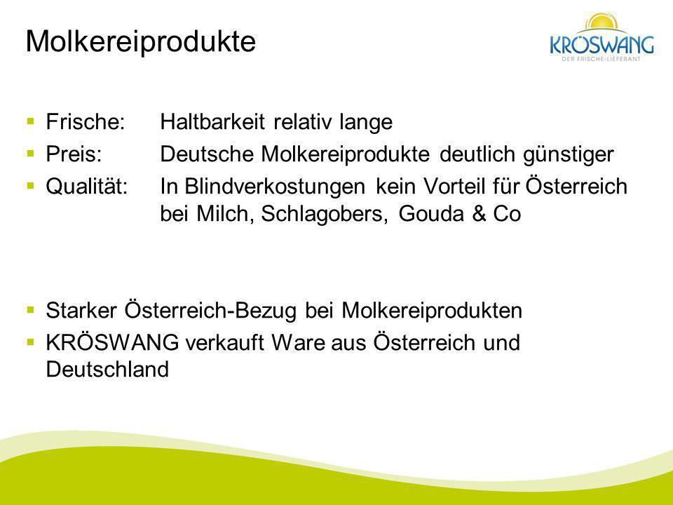Molkereiprodukte Frische:Haltbarkeit relativ lange Preis:Deutsche Molkereiprodukte deutlich günstiger Qualität:In Blindverkostungen kein Vorteil für Ö