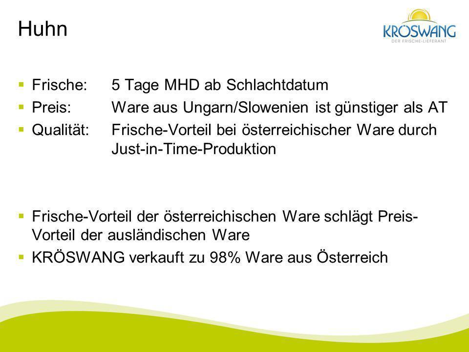 Huhn Frische:5 Tage MHD ab Schlachtdatum Preis:Ware aus Ungarn/Slowenien ist günstiger als AT Qualität:Frische-Vorteil bei österreichischer Ware durch