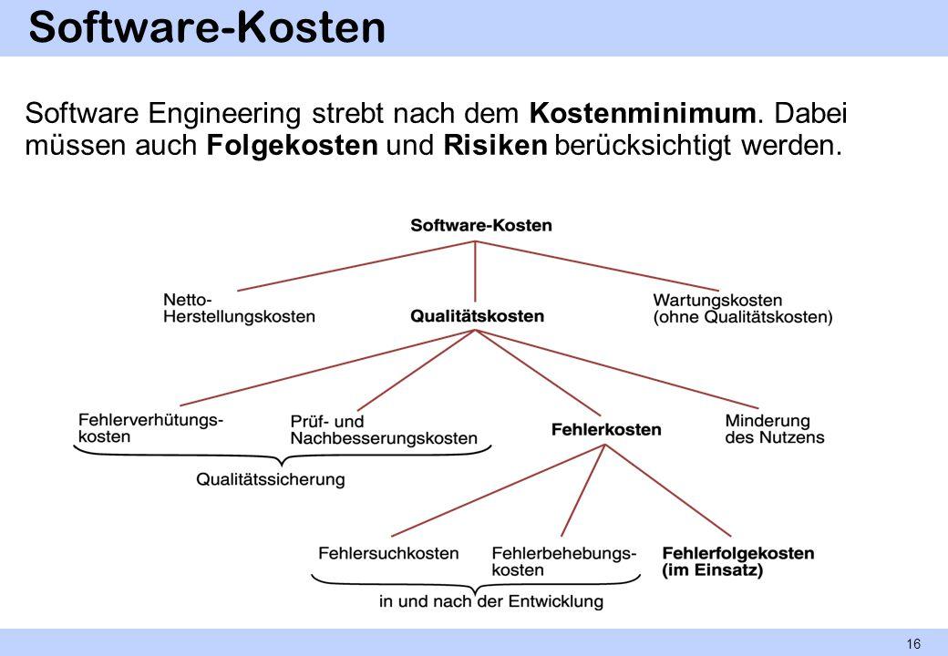 Software-Kosten Software Engineering strebt nach dem Kostenminimum. Dabei müssen auch Folgekosten und Risiken berücksichtigt werden. 16