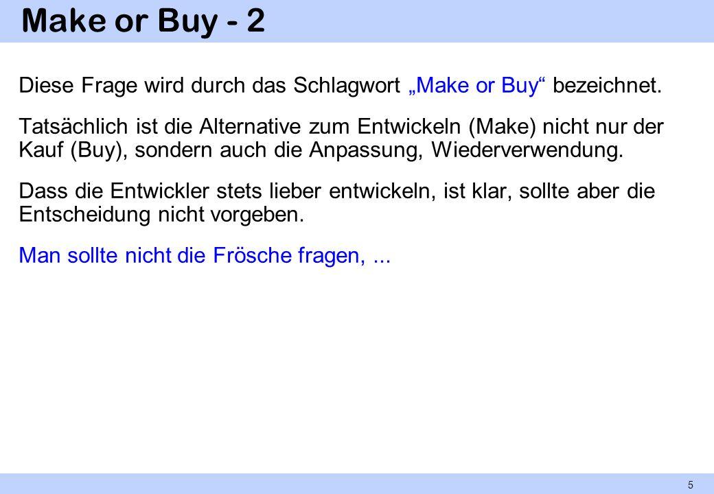 Make or Buy - 2 Diese Frage wird durch das Schlagwort Make or Buy bezeichnet. Tatsächlich ist die Alternative zum Entwickeln (Make) nicht nur der Kauf