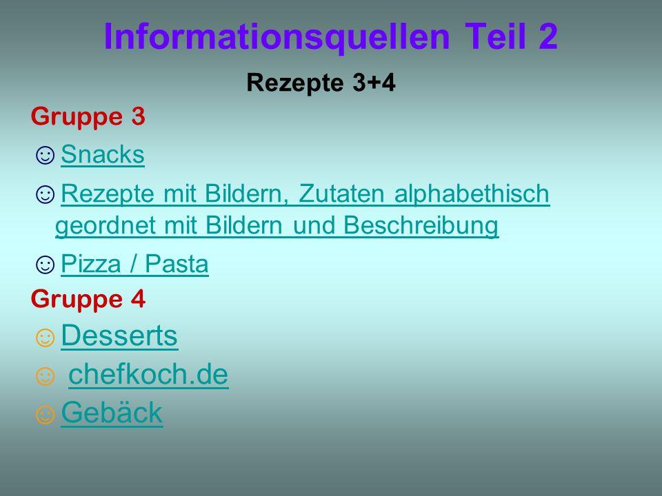 Informationsquellen Teil 2 Rezepte 3+4 Gruppe 3 Snacks Rezepte mit Bildern, Zutaten alphabethisch geordnet mit Bildern und Beschreibung Rezepte mit Bi