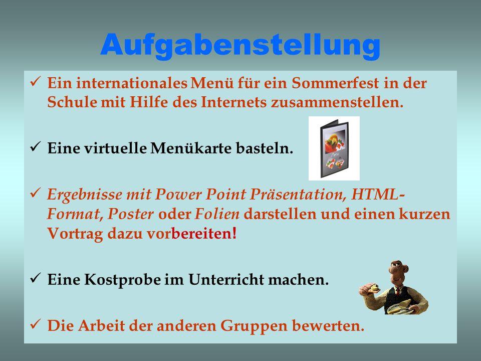 Aufgabenstellung Ein internationales Menü für ein Sommerfest in der Schule mit Hilfe des Internets zusammenstellen. Eine virtuelle Menükarte basteln.