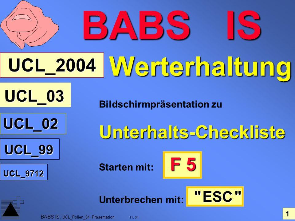 1 11. 04. BABS IS, UCL_Folien_04 Präsentation Bildschirmpräsentation zuUnterhalts-Checkliste F 5 Starten mit: F 5
