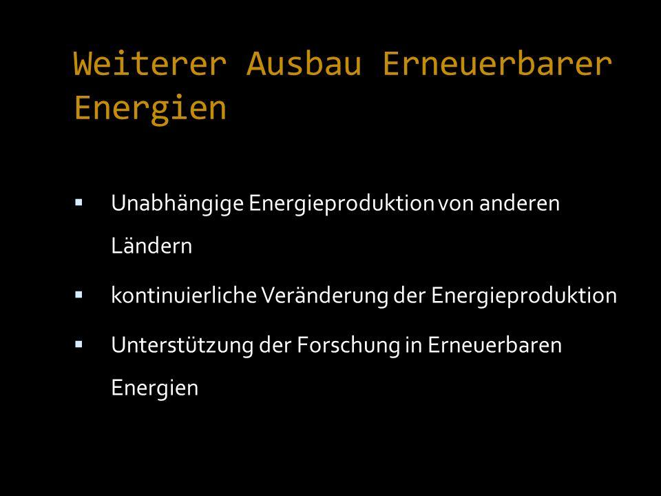 Weiterer Ausbau Erneuerbarer Energien Unabhängige Energieproduktion von anderen Ländern kontinuierliche Veränderung der Energieproduktion Unterstützung der Forschung in Erneuerbaren Energien