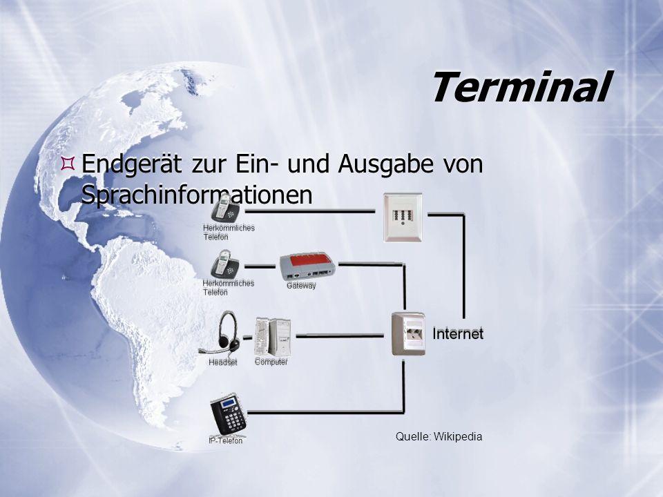 Terminal Endgerät zur Ein- und Ausgabe von Sprachinformationen Quelle: Wikipedia
