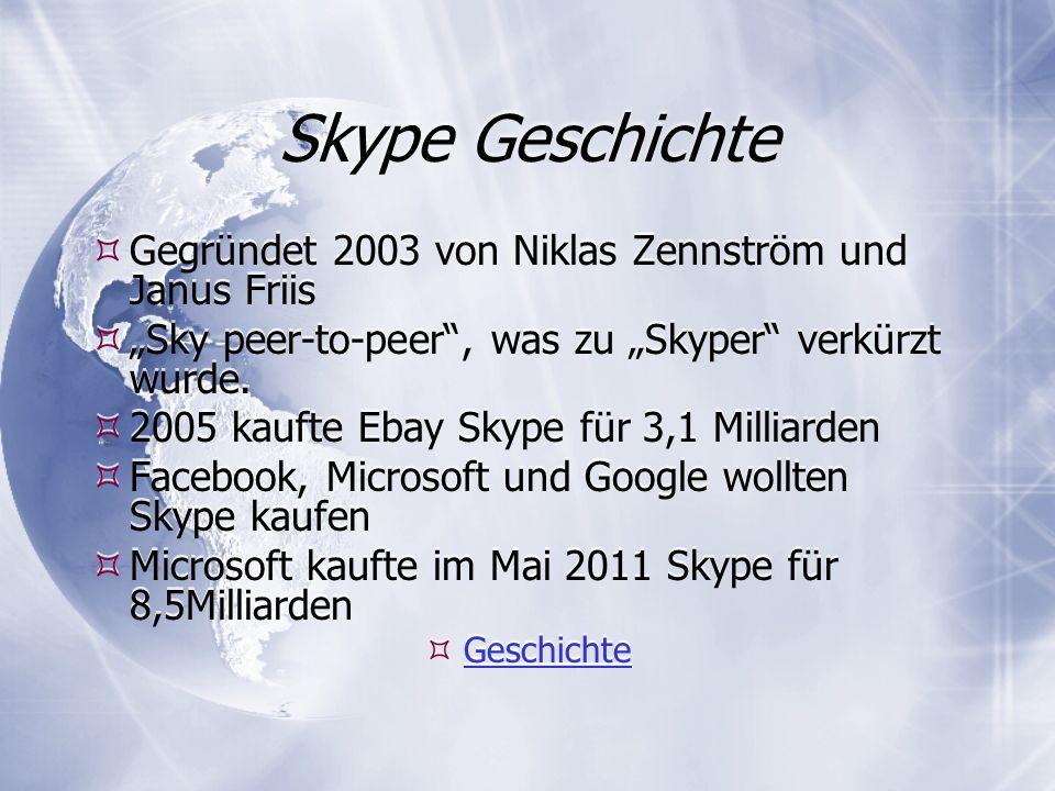 Skype Geschichte Gegründet 2003 von Niklas Zennström und Janus Friis Sky peer-to-peer, was zu Skyper verkürzt wurde.