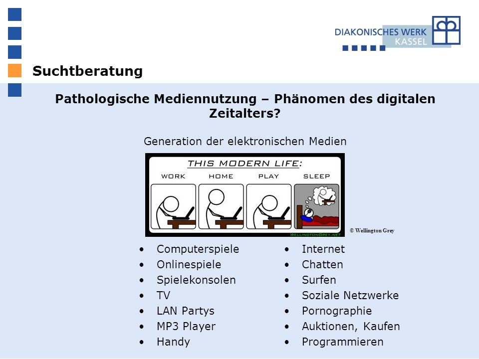 Suchtberatung Pathologische Mediennutzung – Phänomen des digitalen Zeitalters? Generation der elektronischen Medien Computerspiele Onlinespiele Spiele