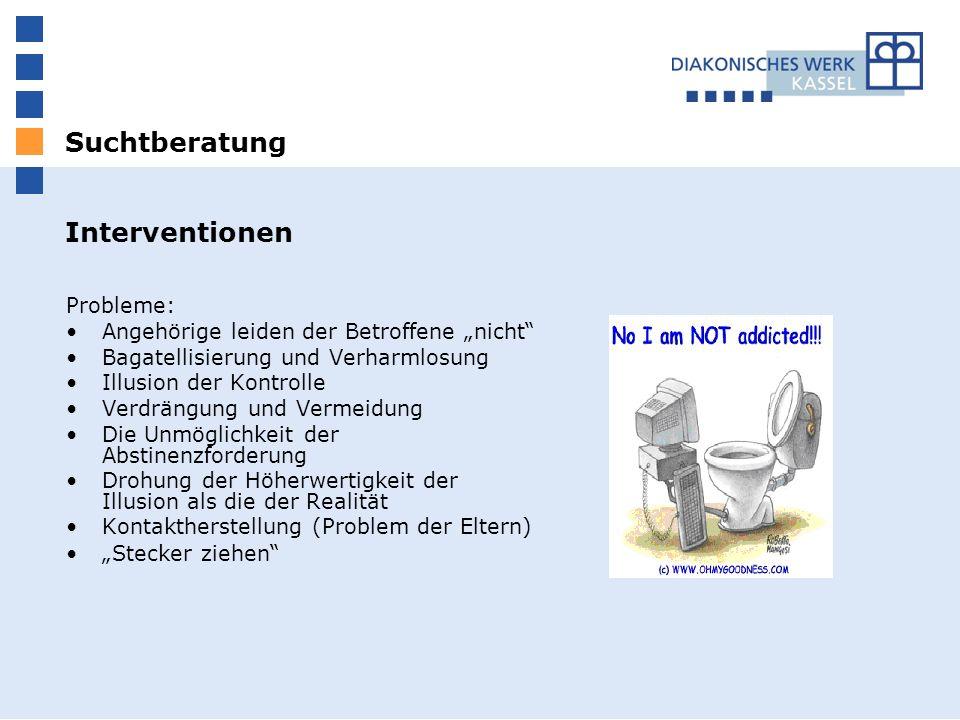 Suchtberatung Interventionen Probleme: Angehörige leiden der Betroffene nicht Bagatellisierung und Verharmlosung Illusion der Kontrolle Verdrängung un
