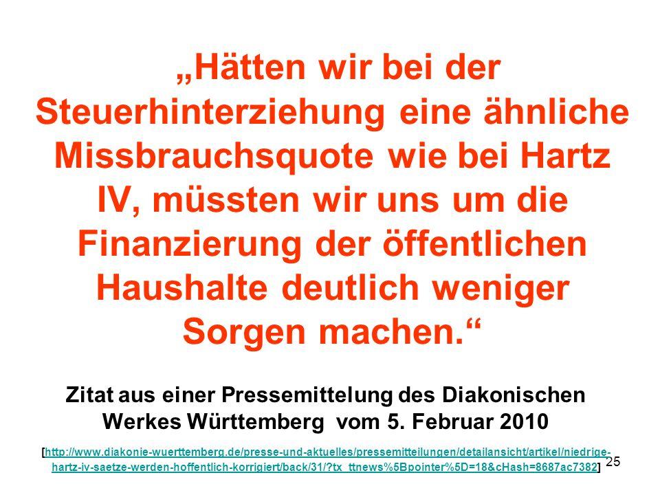 25 Hätten wir bei der Steuerhinterziehung eine ähnliche Missbrauchsquote wie bei Hartz IV, müssten wir uns um die Finanzierung der öffentlichen Hausha