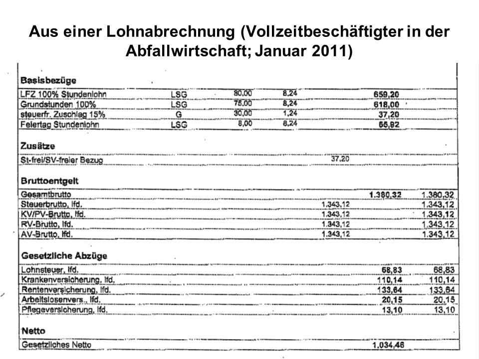 6 Aus einer Lohnabrechnung (Vollzeitbeschäftigter in der Abfallwirtschaft; Januar 2011)