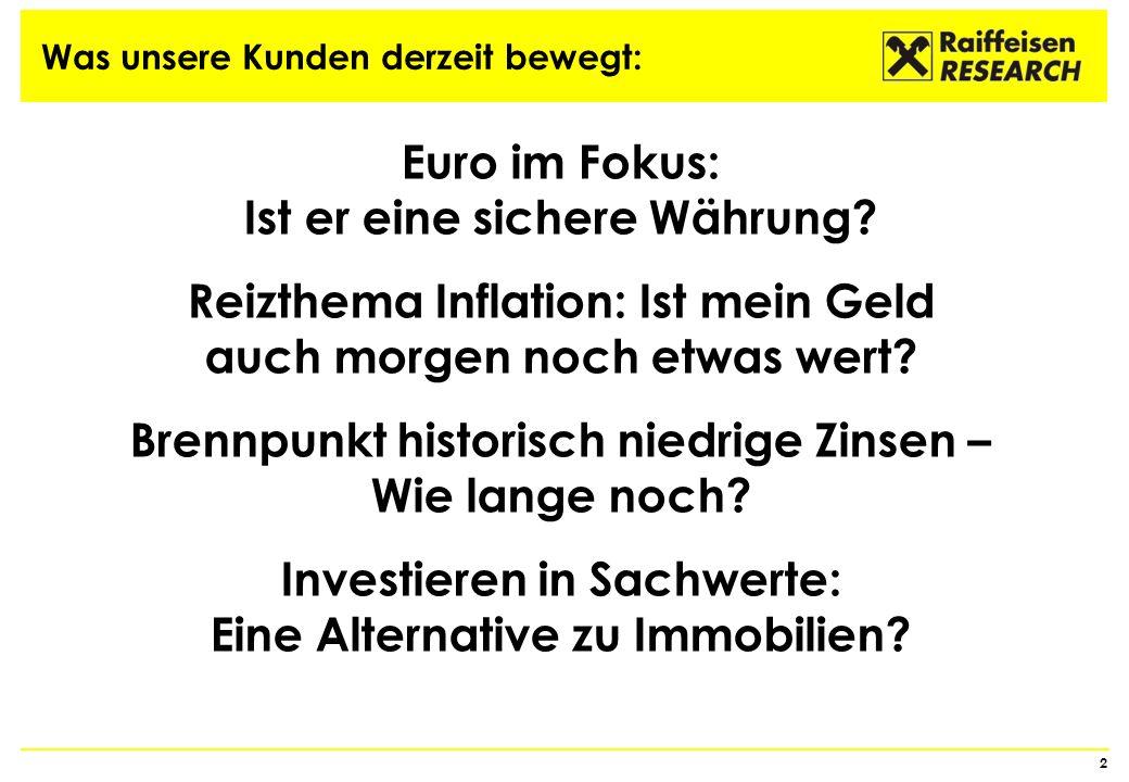 ÖSTERREICH: GEFÜHLTE INFLATION zwischenzeitig deutlich höher als offizielle Teuerung 13 Quelle: Thomson Reuters, Statistik Austria, Raiffeisen RESEARCH