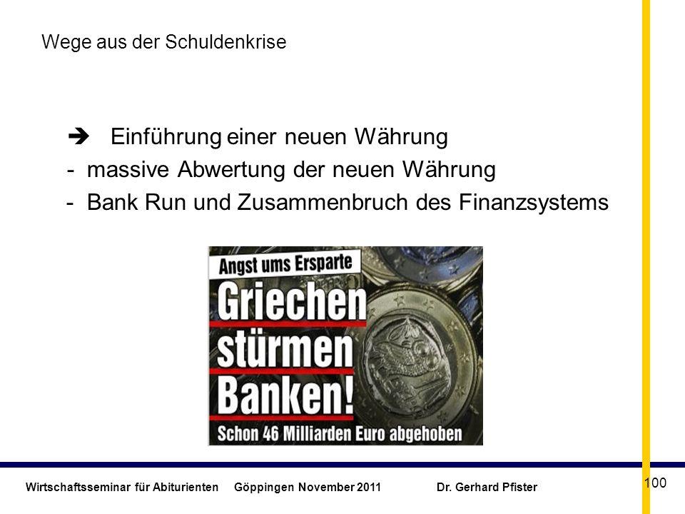Wirtschaftsseminar für Abiturienten Göppingen November 2011 Dr. Gerhard Pfister 100 Wege aus der Schuldenkrise Einführung einer neuen Währung - massiv