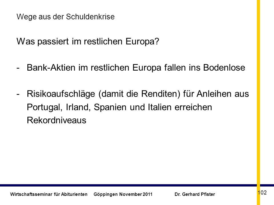 Wirtschaftsseminar für Abiturienten Göppingen November 2011 Dr. Gerhard Pfister 102 Wege aus der Schuldenkrise Was passiert im restlichen Europa? -Ban