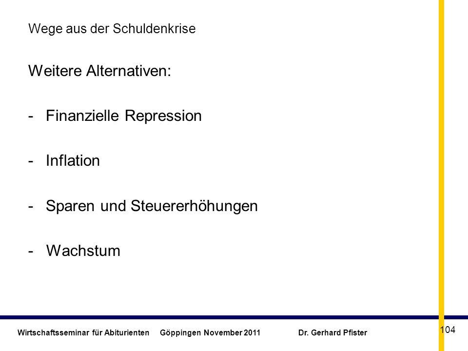 Wirtschaftsseminar für Abiturienten Göppingen November 2011 Dr. Gerhard Pfister 104 Wege aus der Schuldenkrise Weitere Alternativen: -Finanzielle Repr