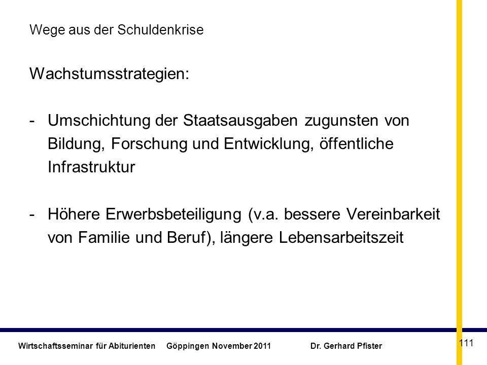 Wirtschaftsseminar für Abiturienten Göppingen November 2011 Dr. Gerhard Pfister 111 Wege aus der Schuldenkrise Wachstumsstrategien: -Umschichtung der