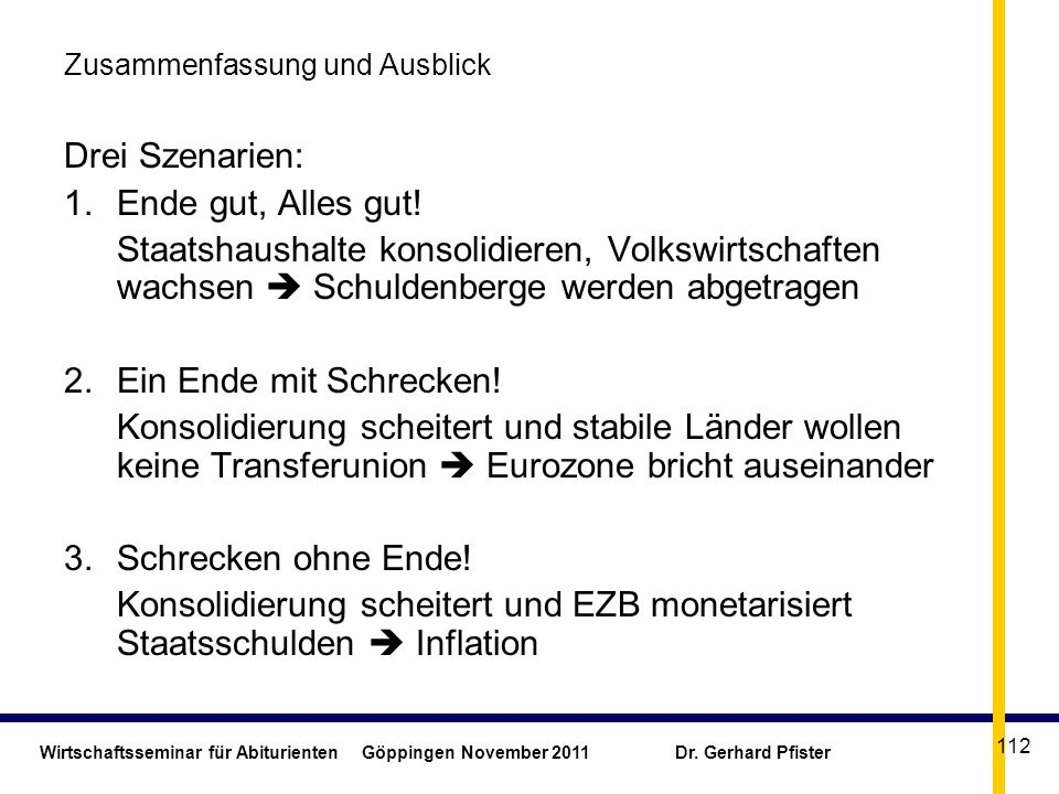 Wirtschaftsseminar für Abiturienten Göppingen November 2011 Dr. Gerhard Pfister 112 Zusammenfassung und Ausblick Drei Szenarien: 1.Ende gut, Alles gut