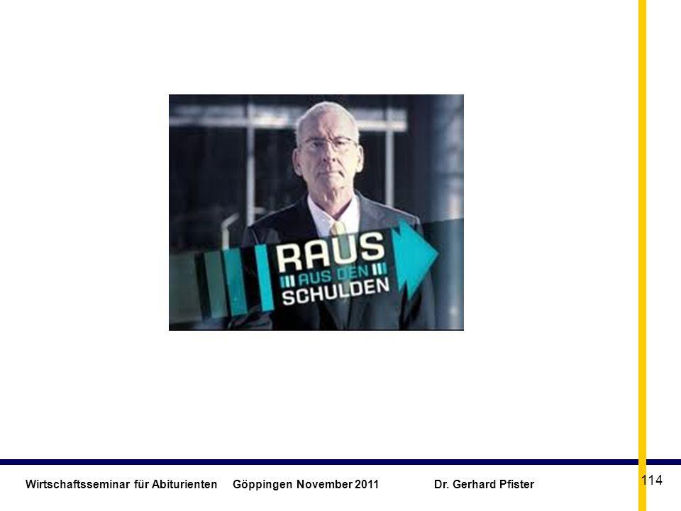Wirtschaftsseminar für Abiturienten Göppingen November 2011 Dr. Gerhard Pfister 114