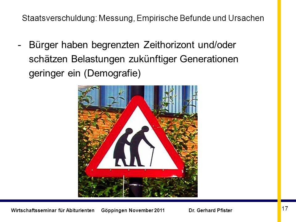 Wirtschaftsseminar für Abiturienten Göppingen November 2011 Dr. Gerhard Pfister 17 Staatsverschuldung: Messung, Empirische Befunde und Ursachen -Bürge