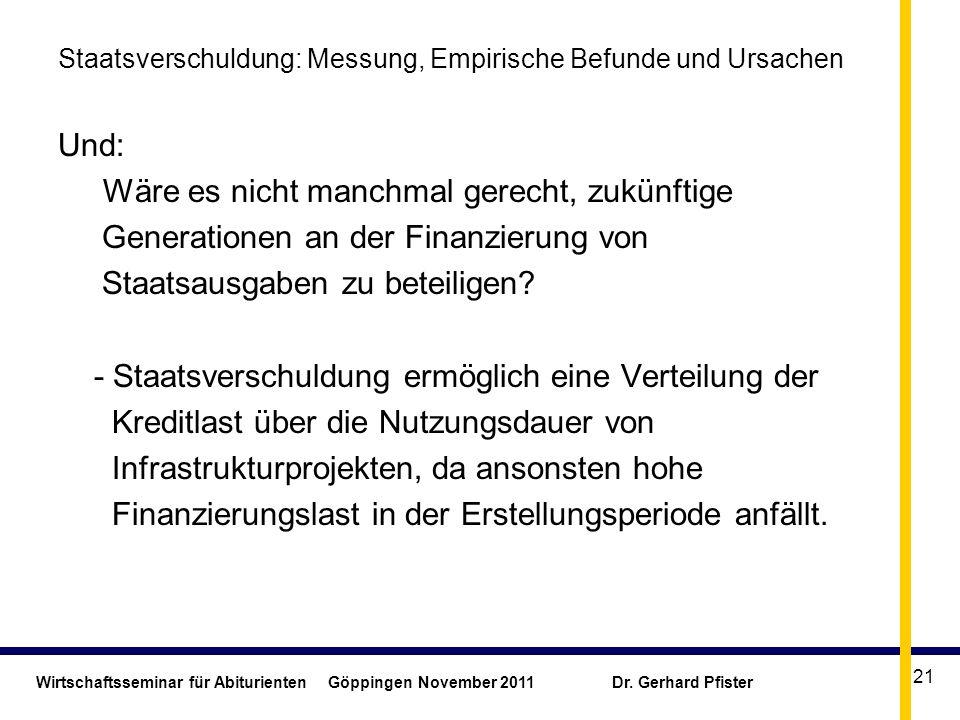 Wirtschaftsseminar für Abiturienten Göppingen November 2011 Dr. Gerhard Pfister 21 Staatsverschuldung: Messung, Empirische Befunde und Ursachen Und: W