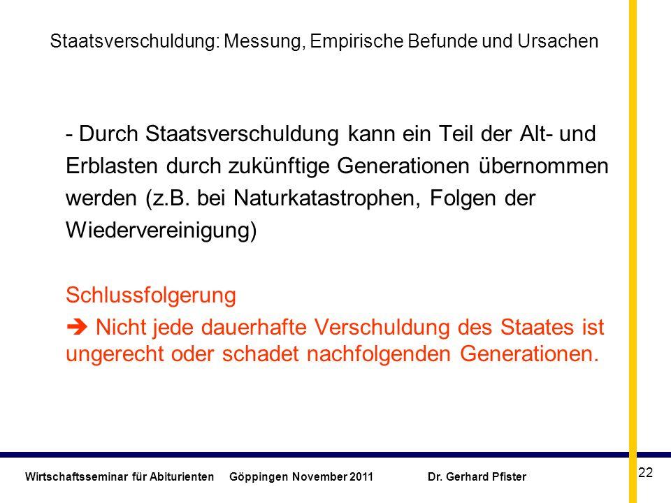 Wirtschaftsseminar für Abiturienten Göppingen November 2011 Dr. Gerhard Pfister 22 Staatsverschuldung: Messung, Empirische Befunde und Ursachen - Durc