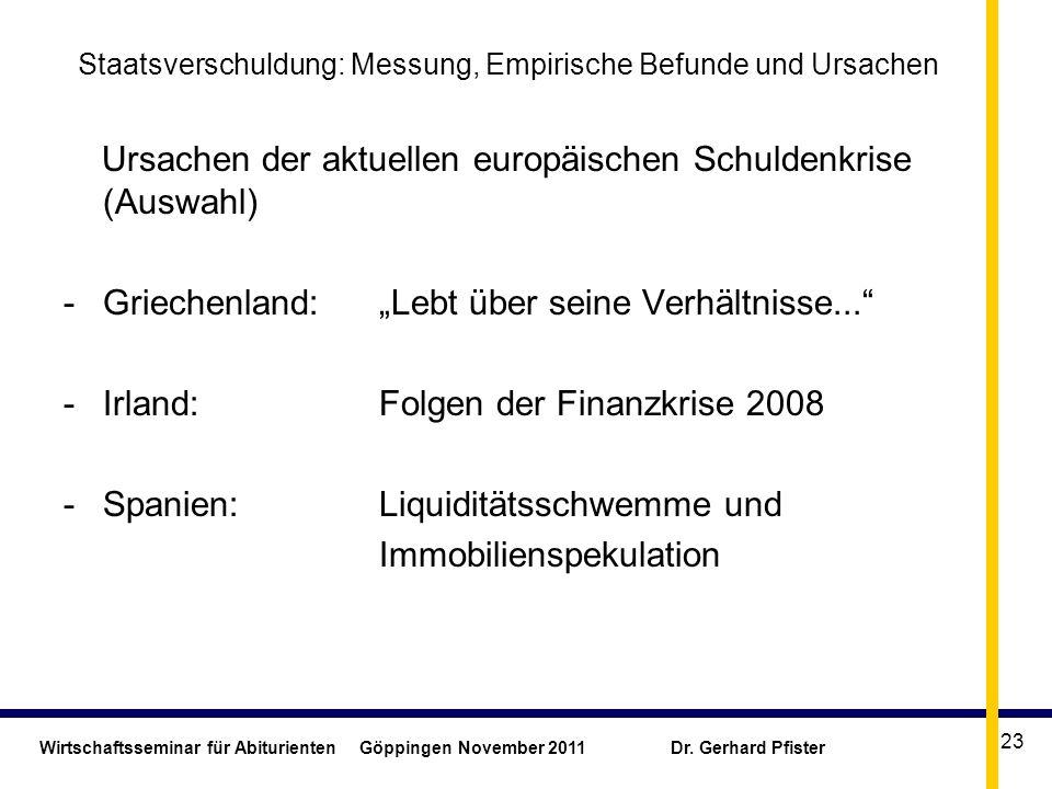 Wirtschaftsseminar für Abiturienten Göppingen November 2011 Dr. Gerhard Pfister 23 Staatsverschuldung: Messung, Empirische Befunde und Ursachen Ursach