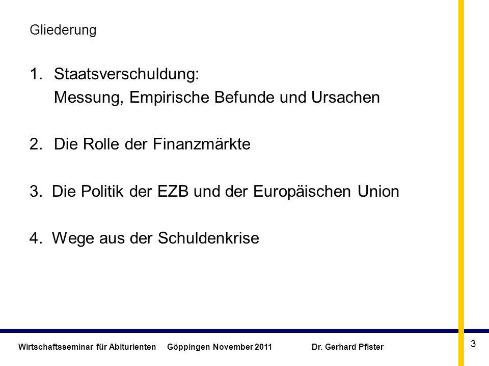 Wirtschaftsseminar für Abiturienten Göppingen November 2011 Dr. Gerhard Pfister 3 Gliederung 1.Staatsverschuldung: Messung, Empirische Befunde und Urs