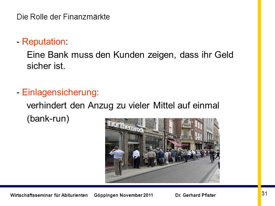 Wirtschaftsseminar für Abiturienten Göppingen November 2011 Dr. Gerhard Pfister 31 Die Rolle der Finanzmärkte - Reputation: Eine Bank muss den Kunden
