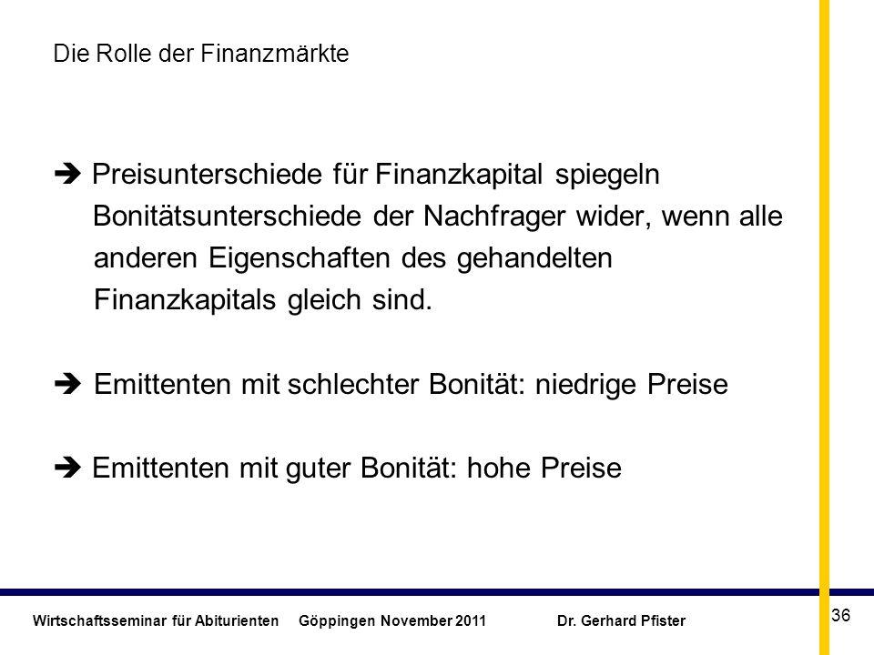 Wirtschaftsseminar für Abiturienten Göppingen November 2011 Dr. Gerhard Pfister 36 Die Rolle der Finanzmärkte Preisunterschiede für Finanzkapital spie