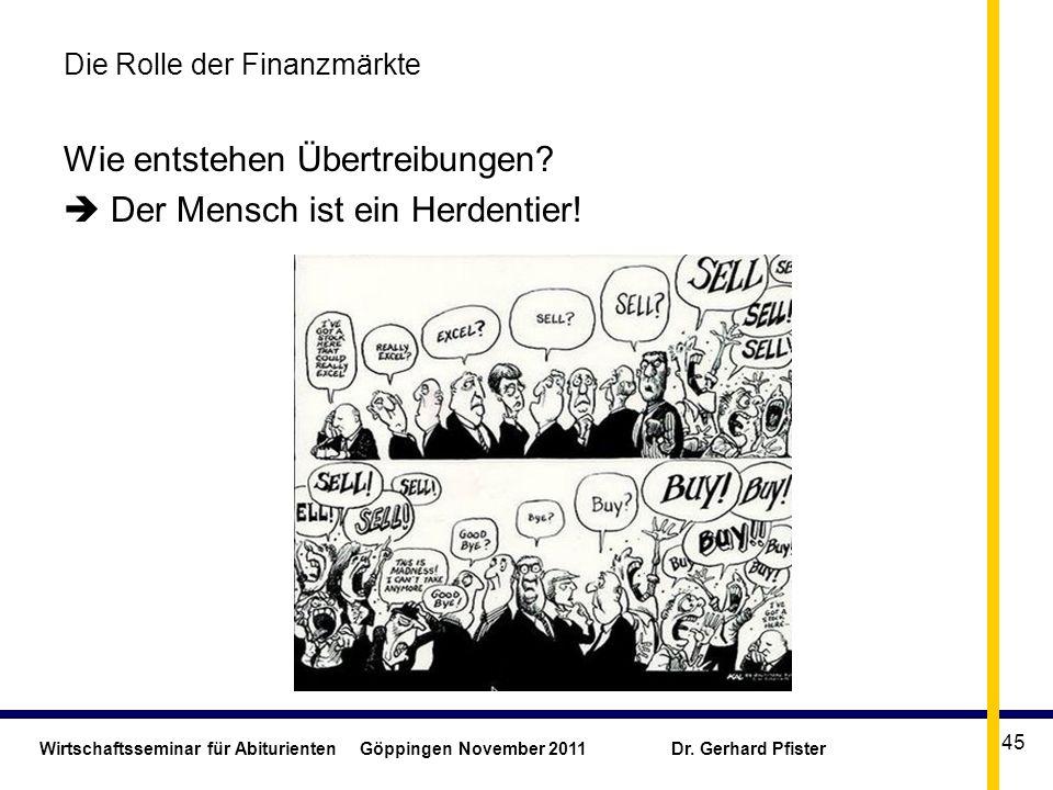 Wirtschaftsseminar für Abiturienten Göppingen November 2011 Dr. Gerhard Pfister 45 Die Rolle der Finanzmärkte Wie entstehen Übertreibungen? Der Mensch