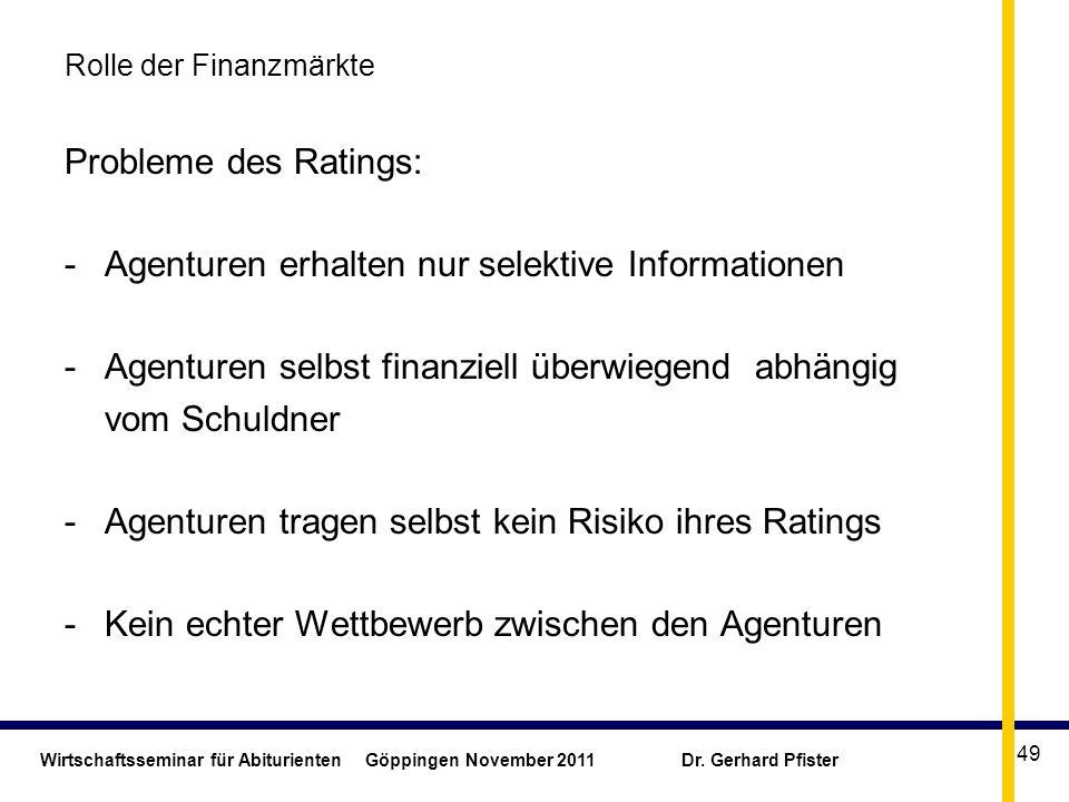 Wirtschaftsseminar für Abiturienten Göppingen November 2011 Dr. Gerhard Pfister 49 Rolle der Finanzmärkte Probleme des Ratings: -Agenturen erhalten nu