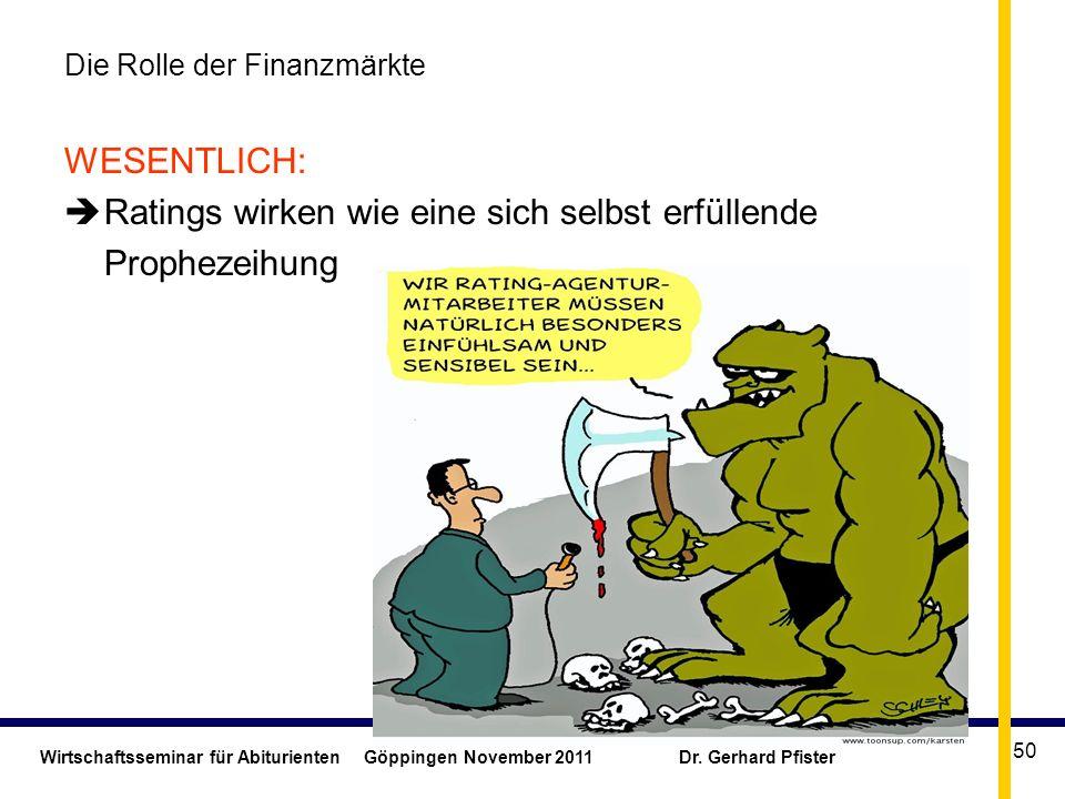 Wirtschaftsseminar für Abiturienten Göppingen November 2011 Dr. Gerhard Pfister 50 Die Rolle der Finanzmärkte WESENTLICH: Ratings wirken wie eine sich