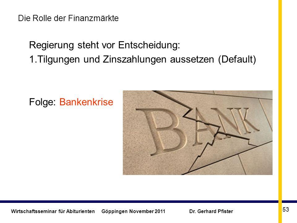 Wirtschaftsseminar für Abiturienten Göppingen November 2011 Dr. Gerhard Pfister 53 Die Rolle der Finanzmärkte Regierung steht vor Entscheidung: 1.Tilg