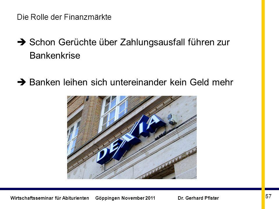 Wirtschaftsseminar für Abiturienten Göppingen November 2011 Dr. Gerhard Pfister 57 Die Rolle der Finanzmärkte Schon Gerüchte über Zahlungsausfall führ