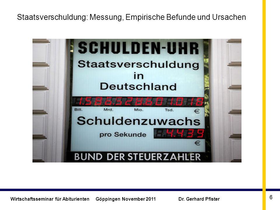Wirtschaftsseminar für Abiturienten Göppingen November 2011 Dr. Gerhard Pfister 6 Staatsverschuldung: Messung, Empirische Befunde und Ursachen