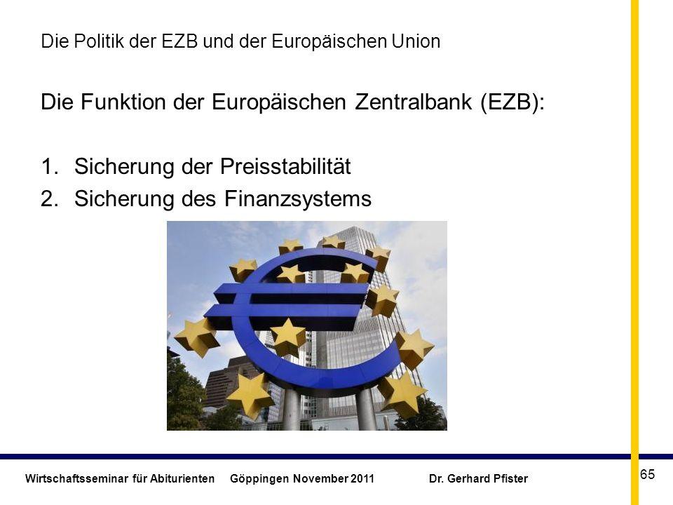 Wirtschaftsseminar für Abiturienten Göppingen November 2011 Dr. Gerhard Pfister 65 Die Politik der EZB und der Europäischen Union Die Funktion der Eur