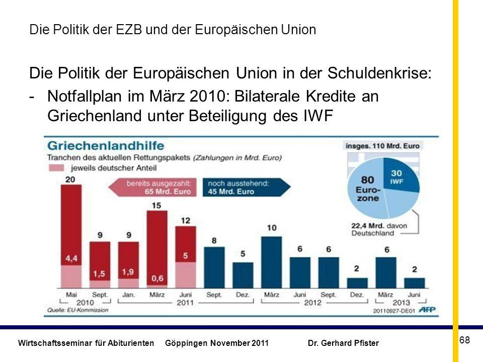 Wirtschaftsseminar für Abiturienten Göppingen November 2011 Dr. Gerhard Pfister 68 Die Politik der EZB und der Europäischen Union Die Politik der Euro