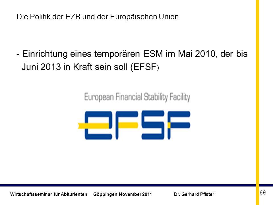 Wirtschaftsseminar für Abiturienten Göppingen November 2011 Dr. Gerhard Pfister 69 Die Politik der EZB und der Europäischen Union - Einrichtung eines