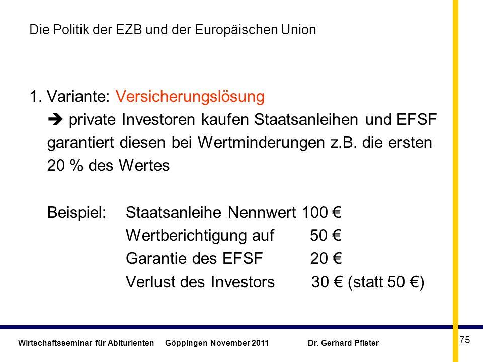 Wirtschaftsseminar für Abiturienten Göppingen November 2011 Dr. Gerhard Pfister 75 Die Politik der EZB und der Europäischen Union 1. Variante: Versich