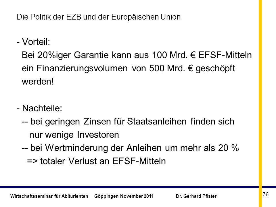 Wirtschaftsseminar für Abiturienten Göppingen November 2011 Dr. Gerhard Pfister 76 Die Politik der EZB und der Europäischen Union - Vorteil: Bei 20%ig