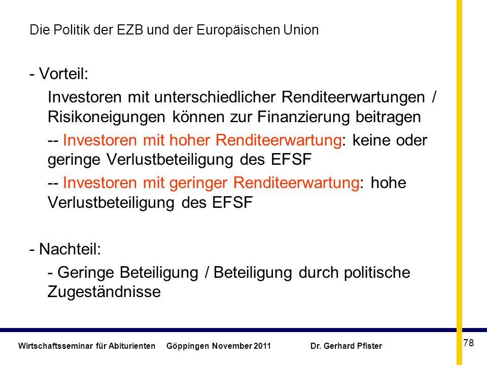 Wirtschaftsseminar für Abiturienten Göppingen November 2011 Dr. Gerhard Pfister 78 Die Politik der EZB und der Europäischen Union - Vorteil: Investore