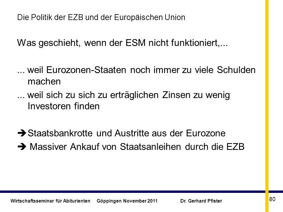 Wirtschaftsseminar für Abiturienten Göppingen November 2011 Dr. Gerhard Pfister 80 Die Politik der EZB und der Europäischen Union Was geschieht, wenn