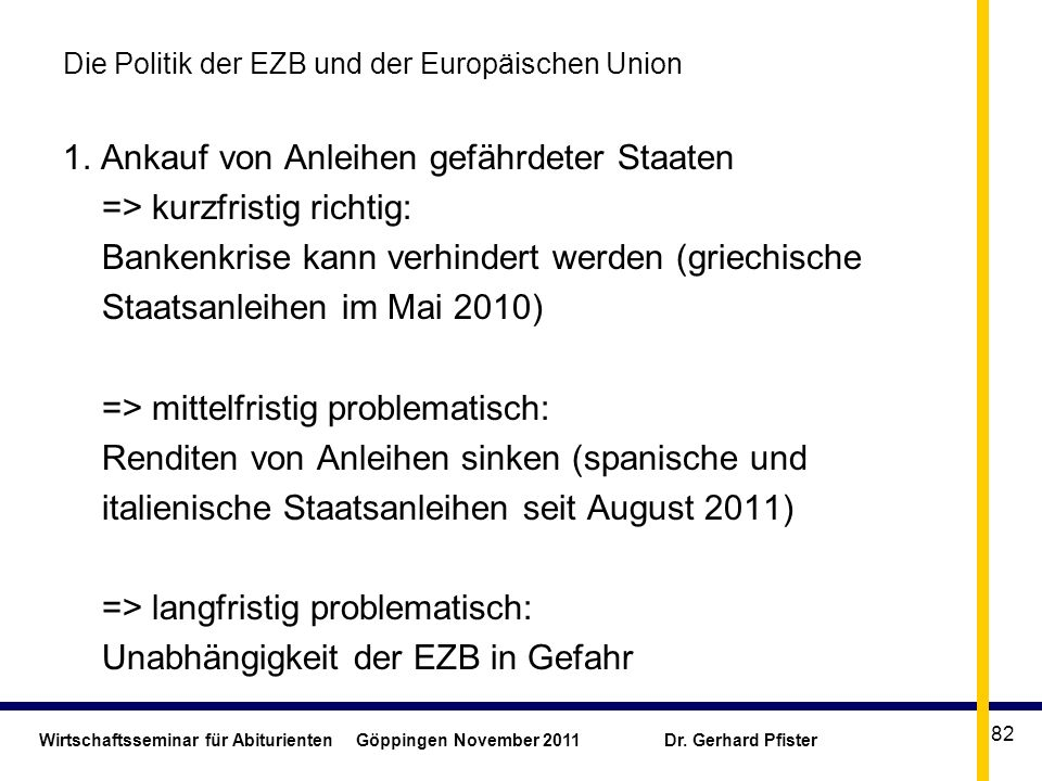 Wirtschaftsseminar für Abiturienten Göppingen November 2011 Dr. Gerhard Pfister 82 Die Politik der EZB und der Europäischen Union 1. Ankauf von Anleih