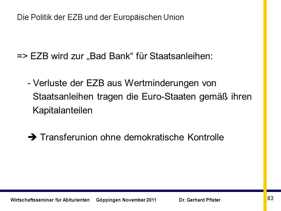 Wirtschaftsseminar für Abiturienten Göppingen November 2011 Dr. Gerhard Pfister 83 Die Politik der EZB und der Europäischen Union => EZB wird zur Bad