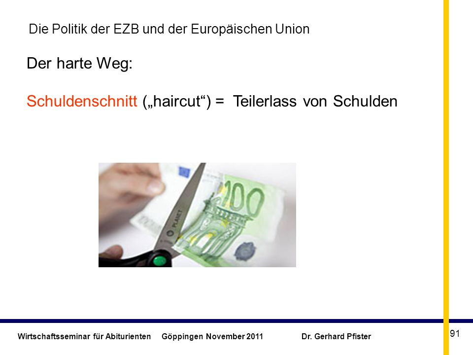 Wirtschaftsseminar für Abiturienten Göppingen November 2011 Dr. Gerhard Pfister 91 Die Politik der EZB und der Europäischen Union Der harte Weg: Schul