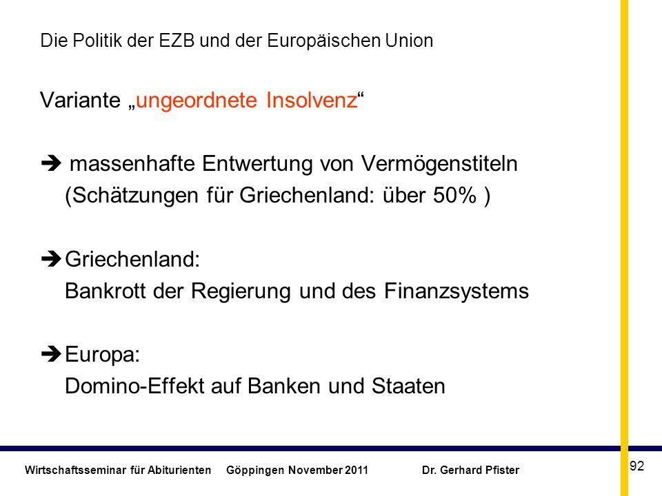 Wirtschaftsseminar für Abiturienten Göppingen November 2011 Dr. Gerhard Pfister 92 Die Politik der EZB und der Europäischen Union Variante ungeordnete