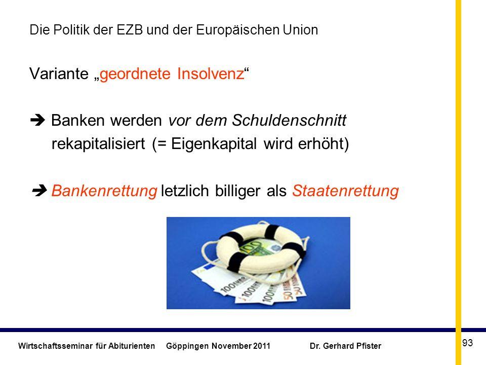 Wirtschaftsseminar für Abiturienten Göppingen November 2011 Dr. Gerhard Pfister 93 Die Politik der EZB und der Europäischen Union Variante geordnete I
