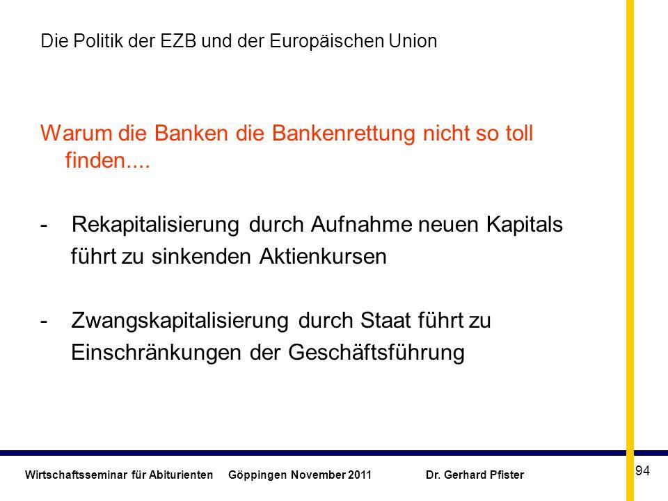 Wirtschaftsseminar für Abiturienten Göppingen November 2011 Dr. Gerhard Pfister 94 Die Politik der EZB und der Europäischen Union Warum die Banken die